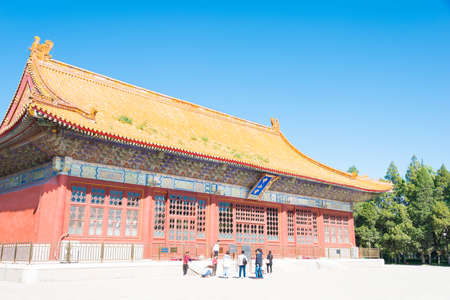 tourist site: BEIJING, CHINA - Oct 11 2015: Zhongshan Hall at Zhongshan Park.A famous historic site in Beijing, China.