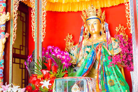 LIAONING, CHINA - Aug 05 2015: Budda statue atShisheng Temple. was built to the specifications of an emperor in the Qing Dynasty. a famous historic site in Shenyang, Liaoning, China.