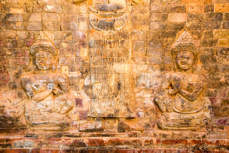 Siem Reap, Cambodia - Nov 30 2016: Relief at Prasat Kravan in Angkor. a famous Historical site(UNESCO World Heritage) in Angkor, Siem Reap, Cambodia.
