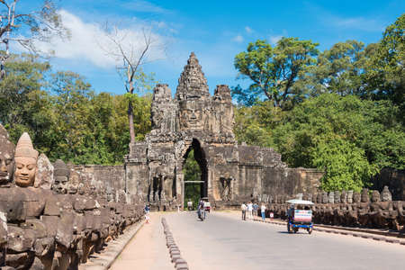 Siem Reap, Cambodia - Dec 5 2016: South Gate in Angkor Thom. a famous Historical site(UNESCO World Heritage) in Angkor, Siem Reap, Cambodia.