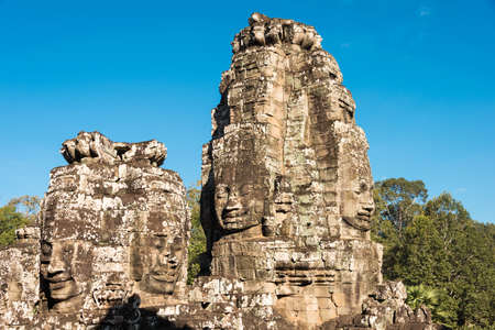 Siem Reap, Cambodia - Dec 08 2016: Bayon Temple in Angkor Thom. a famous Historical site(UNESCO World Heritage) in Angkor, Siem Reap, Cambodia.