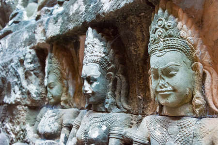 Siem Reap, Cambodia - Dec 10 2016: Relief at Terrace of the Leper King in Angkor Thom. a famous Historical site(UNESCO World Heritage) in Angkor, Siem Reap, Cambodia. Editorial