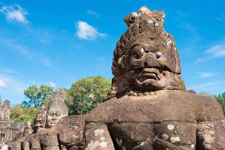 Siem Reap, Cambodia - Dec 5 2016: Stone sculpture at South Gate in Angkor Thom. a famous Historical site in Angkor, Siem Reap, Cambodia.