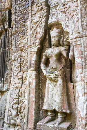 Siem Reap, Cambodia - Dec 11 2016: Relief at Ta Som in Angkor. a famous Historical site in Angkor, Siem Reap, Cambodia.