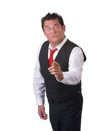Man with blue eyes holding and pointing cigar Imagens