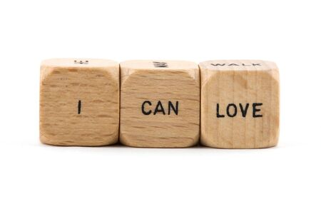 I Can Love phrase formed from wood blocks