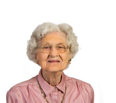 Portrait of Beautiful Senior Woman. Shot against a white background.