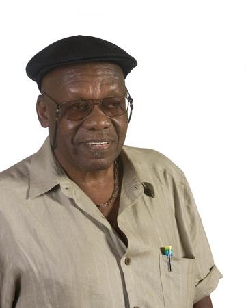 오래 된 아프리카 계 미국인 남자 초상화입니다. 흰색 배경에 대해 쐈 어. 스톡 콘텐츠