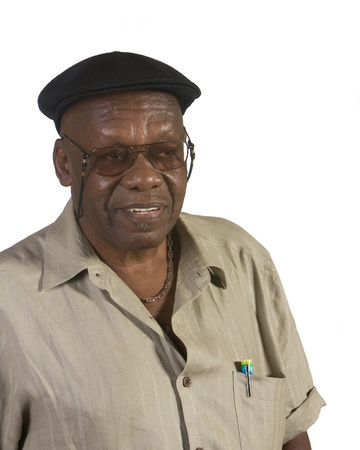 Old African American man portrait. shot against white background. Foto de archivo