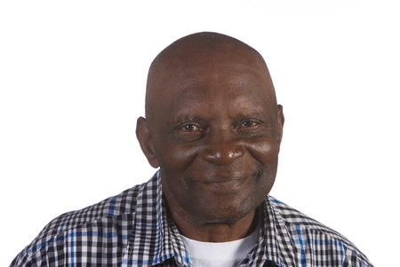 Happy old African American man. Shot against white background.