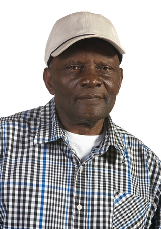 Portrait of African American man wearing hat. Shot against white background.