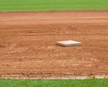 hardball: base on infield of a baseball field