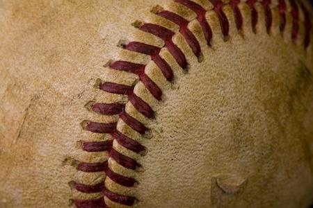 Old worn baseball in macro