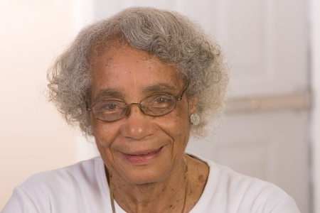 aging woman: Portrait of a retired African American woman. Stock Photo