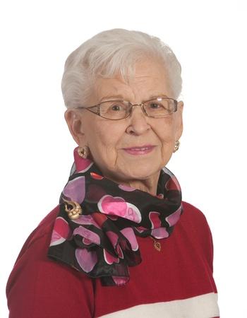 Portrait of elderly lady  Shot against a white background photo