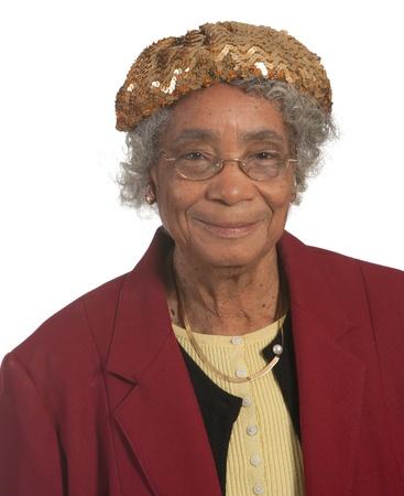 elderly lady: Portrait Happy elderly african american woman