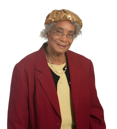 Elderly african american lady  Isolated against white background  photo