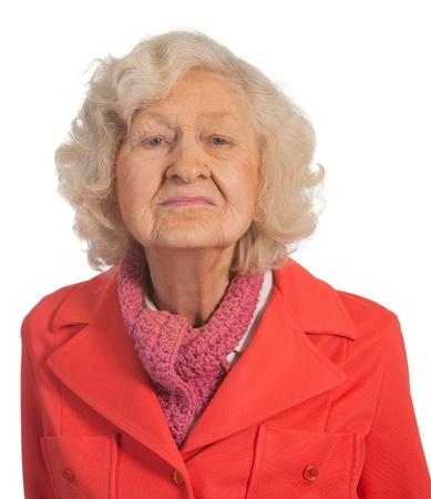 Portrait elderly lady  Isolated against white background