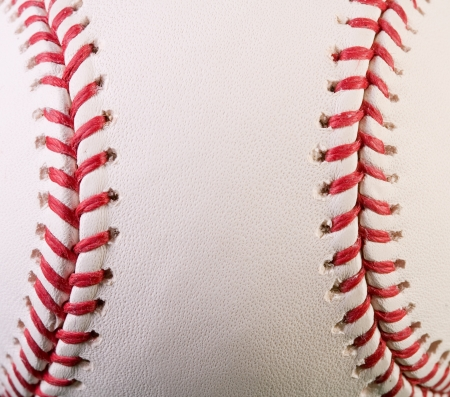 red stitches: Closeup of new baseball with red stitches Stock Photo