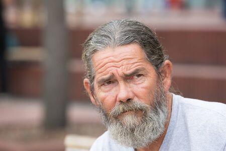 Portrait of a wrinkled and worried man Foto de archivo
