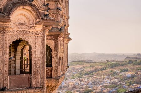 View of the blue city of Jodhpur from Mehrangarh Fort.