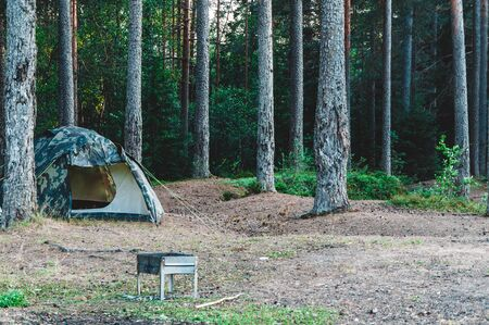 Camping tent and barbecue grill deep in the forest