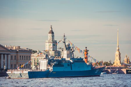 ST.PETERSBURG, RUSSIA - JULY 23, 2019 - Russian warship at celebration of the Navy Day