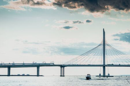 Western Speed Diameter Bridge in Saint Petersburg with Gulf of Finland panorama and dramatic clouds