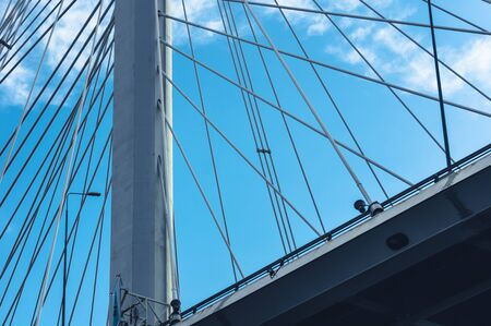 Close view of cable stayed bridge in St.Petersburg, Russia 版權商用圖片