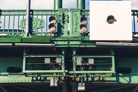 Traffic lights for river vessels on bridge span in St. Petersburg, Russia 版權商用圖片