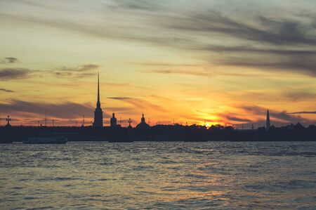 Silhouette of Peter and Paul Fortress in Saint Petersburg at sunset 版權商用圖片