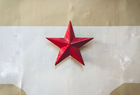 Old retro former Soviet Union red star symbol on train locomotive 版權商用圖片