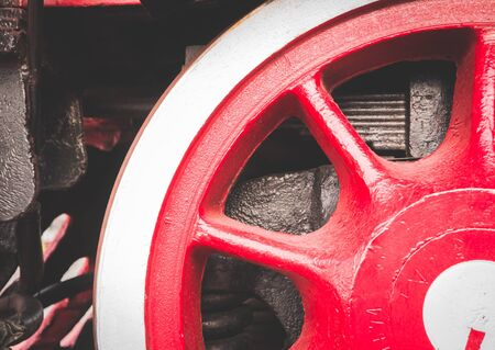 Red wheel of old retro steam train at railway museum 版權商用圖片