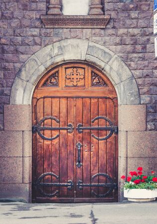 Entrance door of christian roman catholic church