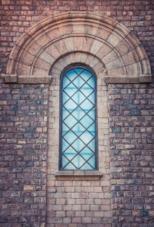 Vaulted arched window of roman catholic church