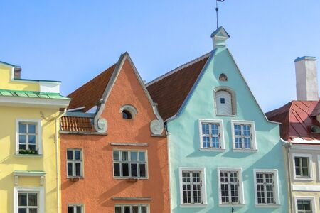 Sunny day with colorful houses in the center of Tallinn
