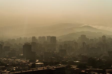 caracas: hazy view of Caracas from avila mountain