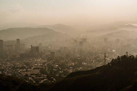 caracas: hazed view of Caracas from avila landscape
