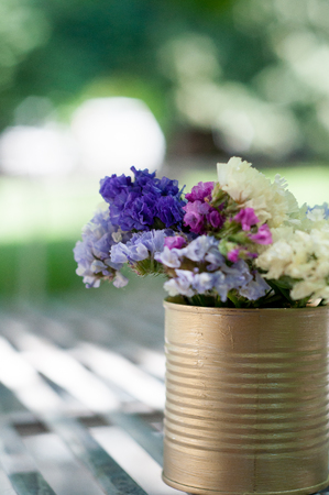 Flowers on table for wedding outdoor preparation