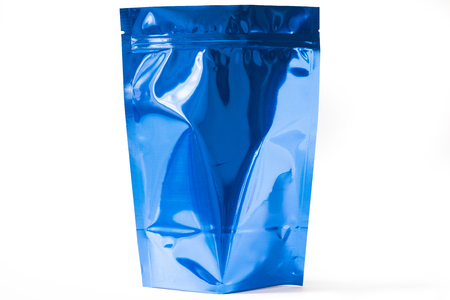 shiny blue doypack stand up packaging pouch with zipper on white background