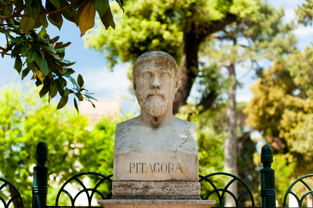 close up of greek philosopher pythagora marble statue in outdoor garden in rome