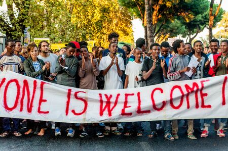 Rome, Italy - 20 june 2018: african migrants and refugees march asking for hospitality and residence permit