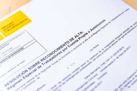Barcelona, Spain - 20 april 2020: close up of alta autonomos form for spanish tax declaration a symbol of spanish economy and freelancers