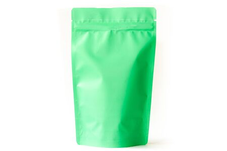 green doypack standup food packaging pouch with zipper on white background