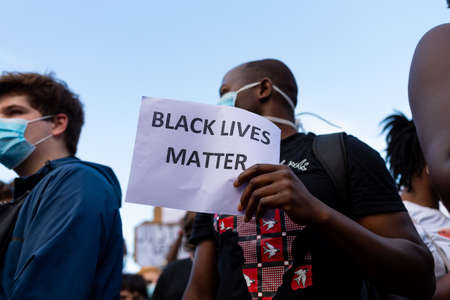 Barcelona, spain - 1 june 2020: close up of Black lives matter banner during demonstration against police brutality and racism against african-americans after the killing of George Floyd Editorial