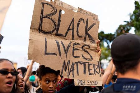 Barcelona, spain - 1 june 2020: close up of Black lives matter banner during demonstration against police brutality and racism against african-americans after the killing of George Floyd Foto de archivo - 149227134