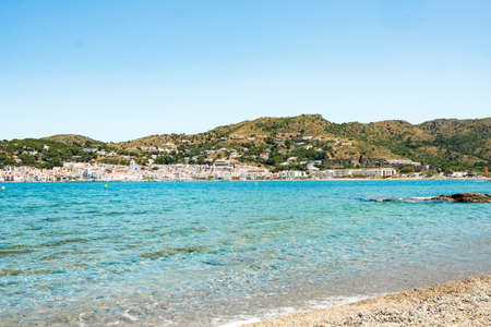 landscape view of costa brava coast and beach in catalonia region in spain with view over selva village, on a sunny summer day