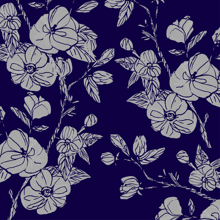 hand drawn floral seamless pattern vector white