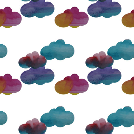 watercolor cloud seamless pattern vector