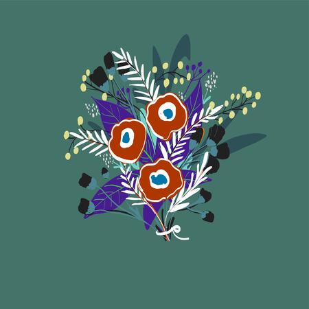 hand drawn floral vector background Illustration